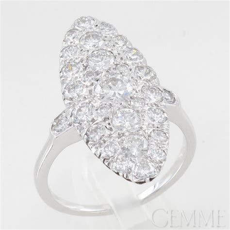 bague marquise or blanc diamants taille moderne