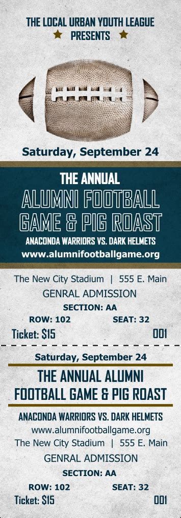 Ticket Template Gameday by Football Reserved Event Ticket