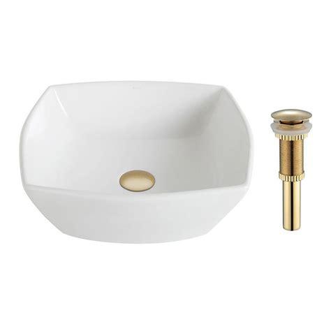 Home Depot Kraus Vessel Sink by Kraus Rectangular Ceramic Vessel Bathroom Sink In White