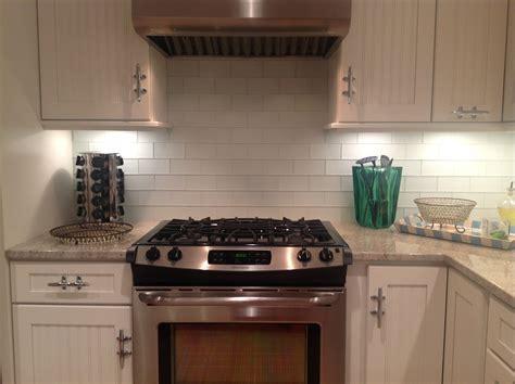 White Glass Subway Tile Backsplash  Home Decor And
