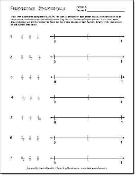 Ordering Fractions From Least To Greatest Worksheet Pdf  Fractions Number Lines And Numbers On