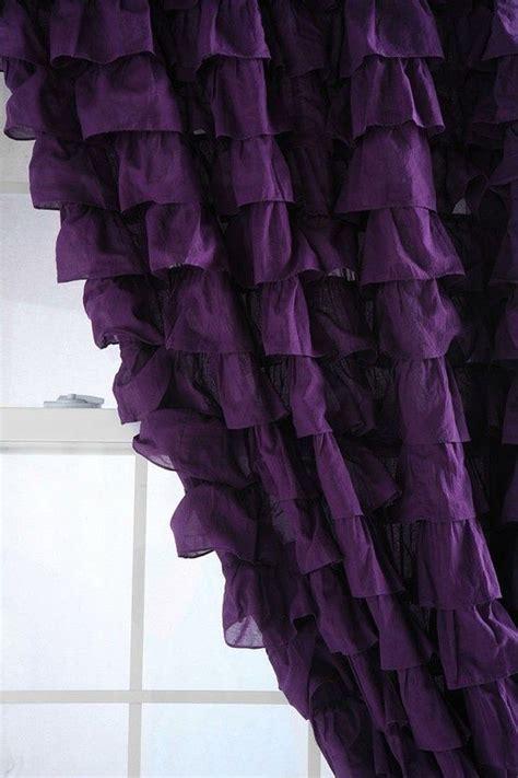 purple ruffled curtains yellow purple
