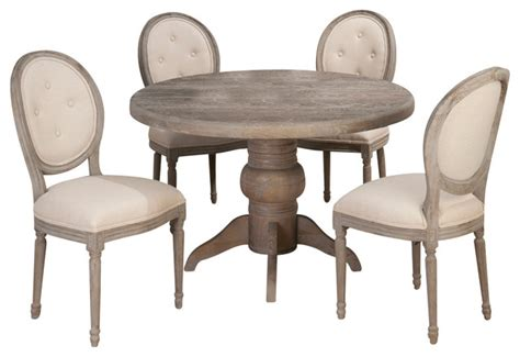 jofran burnt grey 5 pedestal dining room set with oval back chairs traditional dining