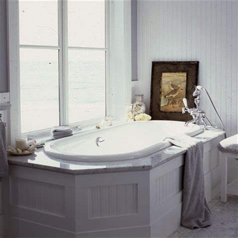 Beadboard, White, Carrara Marble, Dropin Tub, Bathroom