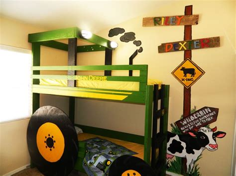 deere tractor bunk bed with farm mural kid bedroom by ashton a las vegas