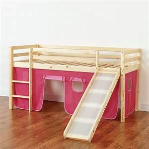 Vorhang über Bett : hochbett mit rutsche hochbett kinderbett bett lattenrost u vorhang pink rosa ebay ~ Markanthonyermac.com Haus und Dekorationen