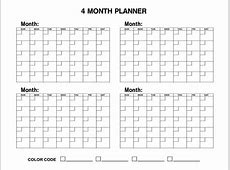 2016 Four Monthly Calendar Template Free Printable