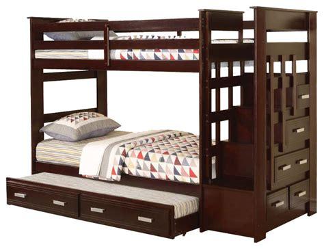 allentown espresso wood bunk bed w storage stairway drawers trundle contemporary