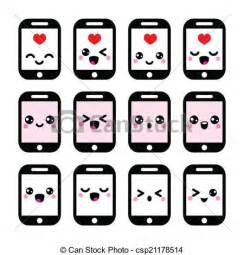 Vector Clip Art of Japanese cute Kawaii phone icons   Vector icons set of  csp21178514