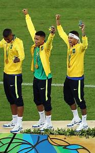 Neymar of Brazil celebrates with his gold medal after the ...