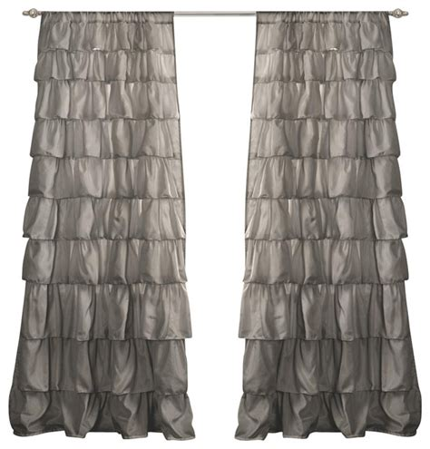 ruffle gray window curtain contemporary curtains by