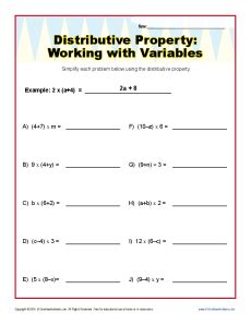 Distributive Property With Variables Worksheets 6th And 7th Grade
