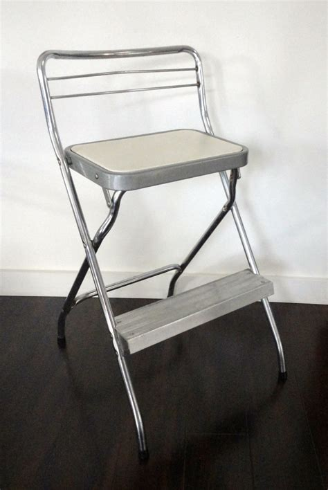 vintage step stool chair cosco chrome and white by kimbuilt