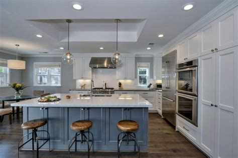 25 Blue And White Kitchens (design Ideas) 18 Gauge Kitchen Sinks Stainless Steel Oil Rubbed Bronze Cheapest Sink Ikea And Taps Under Mount Deepest Faucets At Home Depot Ada Compliant