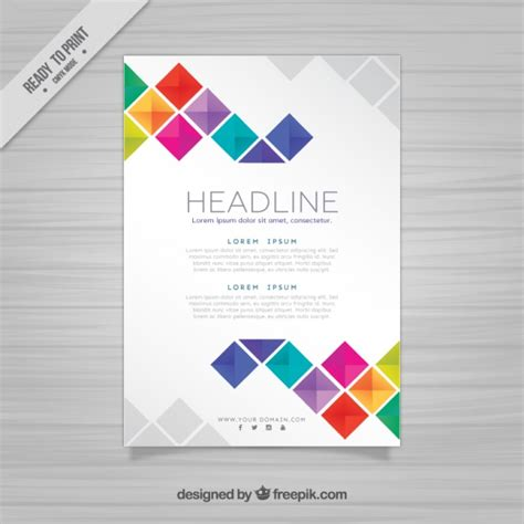 Brochute Template Free Download by Brochure Template With Squares Vector Free Download