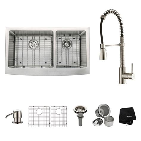 Home Depot Kraus Farmhouse Sink by Kraus All In One Farmhouse Apron Front Stainless Steel 36