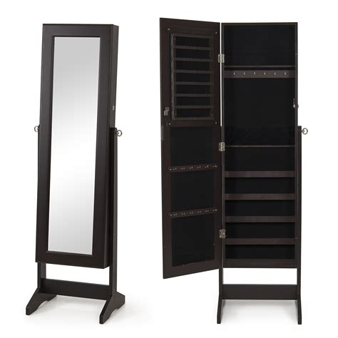 new mirrored jewelry cabinet mirror organizer armoire storage w stand ebay