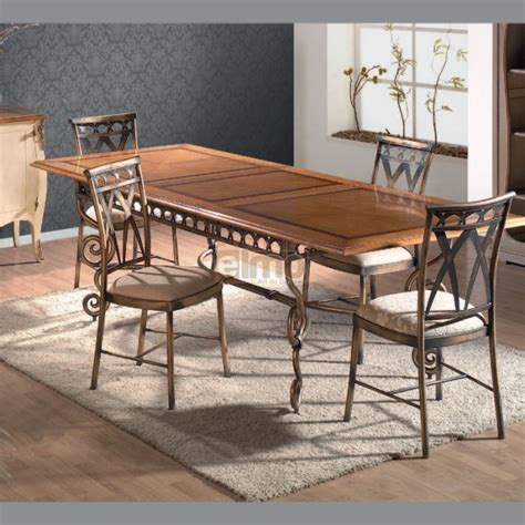 table repas extensible plateau bois pi 233 tement fer forg 233 travaill 233