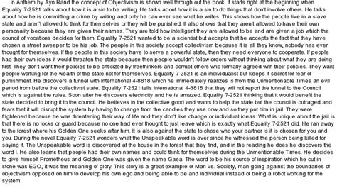 anthem by ayn rand essay at essaypedia