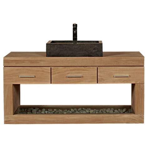 meuble sous vasque 224 suspendre teck 3 tiroirs 1 niche meuble