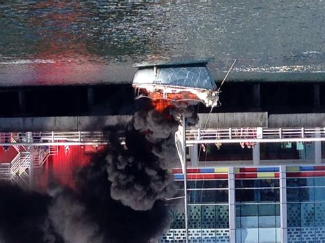 Vancouver Fire Boat 3 by Boat Fire In False Creek Near Science World Photos