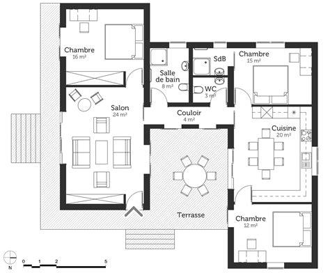 plan maison 100 m 178 224 toit plat ooreka