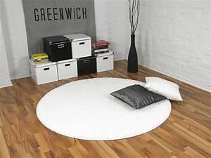 Teppich Rund 160 : teppich hochflor shaggy premio weiss rund in 7 gr en ebay ~ Markanthonyermac.com Haus und Dekorationen