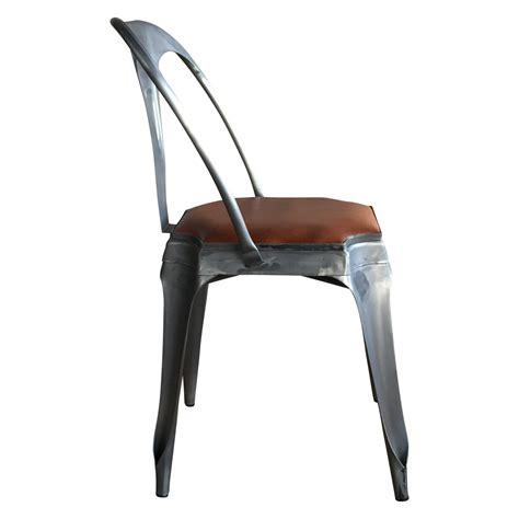 chaise style vintage industriel en m 233 tal et cuir demeure