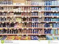 Fresh Fruit Yogurt On Supermarket Stand Editorial Image