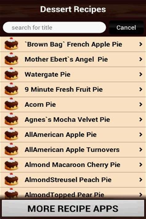 desserts list driverlayer search engine