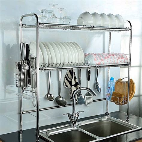 2 Shelf Dish Drying Rack Over Sink Storage Kitchenware
