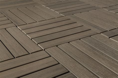 kontiki interlocking deck tiles engineered polymer series premium resin deck tile gray 12