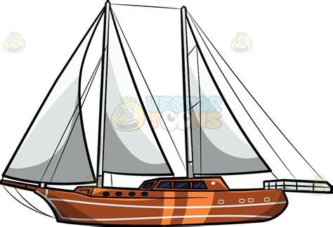 Sailboats Cartoon by A Luxury Sailboat Cartoon Clipart Vector Toons