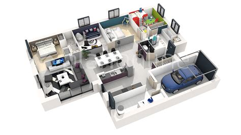 plan d une maison en 3d avec 5 chambre maison moderne