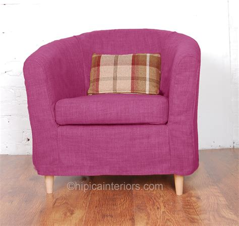 orchid pink jerez linen look tullsta tub chair cover