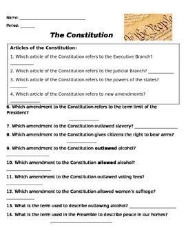 Constitutional Amendment Worksheet By Rebecca Miller Tpt