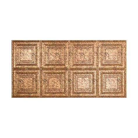 fasade traditional 2 2 ft x 4 ft glue up ceiling tile in cracked copper g51 19 the home depot