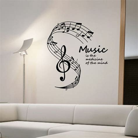 aliexpress buy is the medicine of the mind wall stickers musical notes stave home