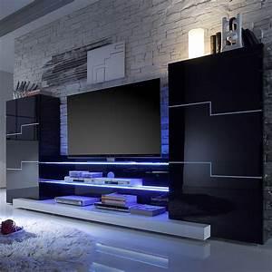 Moderne Wohnzimmer Schrankwand : wohnwand schwarz wei hochglanz schrankwand tv lowboard vitirne wohnzimmer neu ebay ~ Markanthonyermac.com Haus und Dekorationen