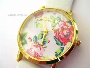 Retro Uhr Damen : geneva damen armbanduhr wei blumen bl ten blogger gold rosen vintage uhr ~ Markanthonyermac.com Haus und Dekorationen