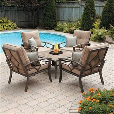 patio furniture outdoor lawn garden kennedy 5 pc with pit cushions and