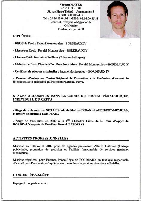 modele cv stage cabinet d avocat