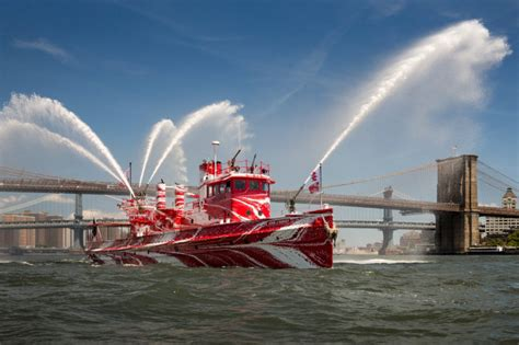 Fdny Fireboat John J Harvey by Historic Nyc Fireboat Dons Dazzle Paint Workboat