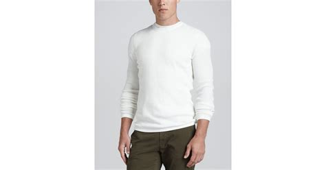 Vince Long Sleeve Thermal Sweater White In White For Men