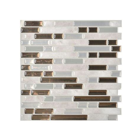 smart tiles bellagio grigio 10 125 in x 10 in peel and stick mosaic decorative wall tile in