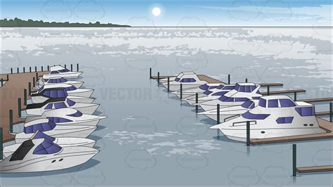 Cartoon Boat Dock by Boats Docked At A Marina Background Clipart By Vector Toons