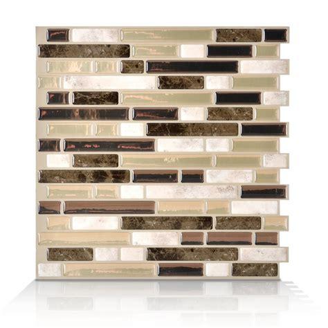 smart tiles 6 pack 10 x 10 bellagio bello peel and stick vinyl mosaic subway wall tile lowe s