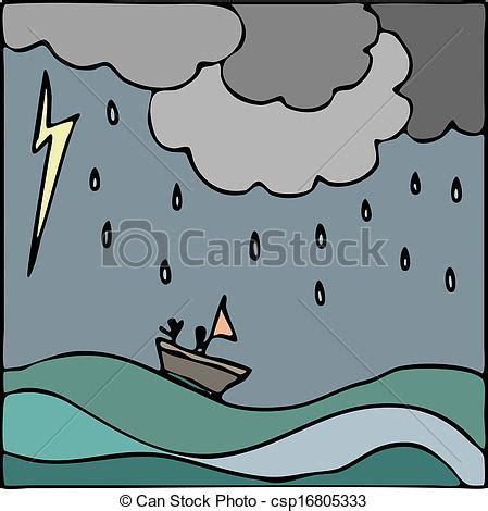 Dibujo Barco En Tormenta by Vectores De Barco Vector Mar Tormenta Mano Dibujado