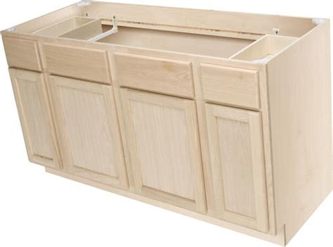 quality one 60 quot x 34 1 2 quot unfinished premium oak sink base cabinet w active drawers at menards 174