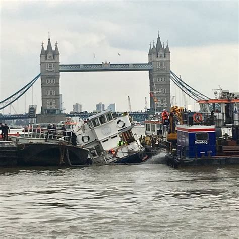 Party Boat Thames Disaster by Rescue Operation Under Way As Boat Sinks On River Thames